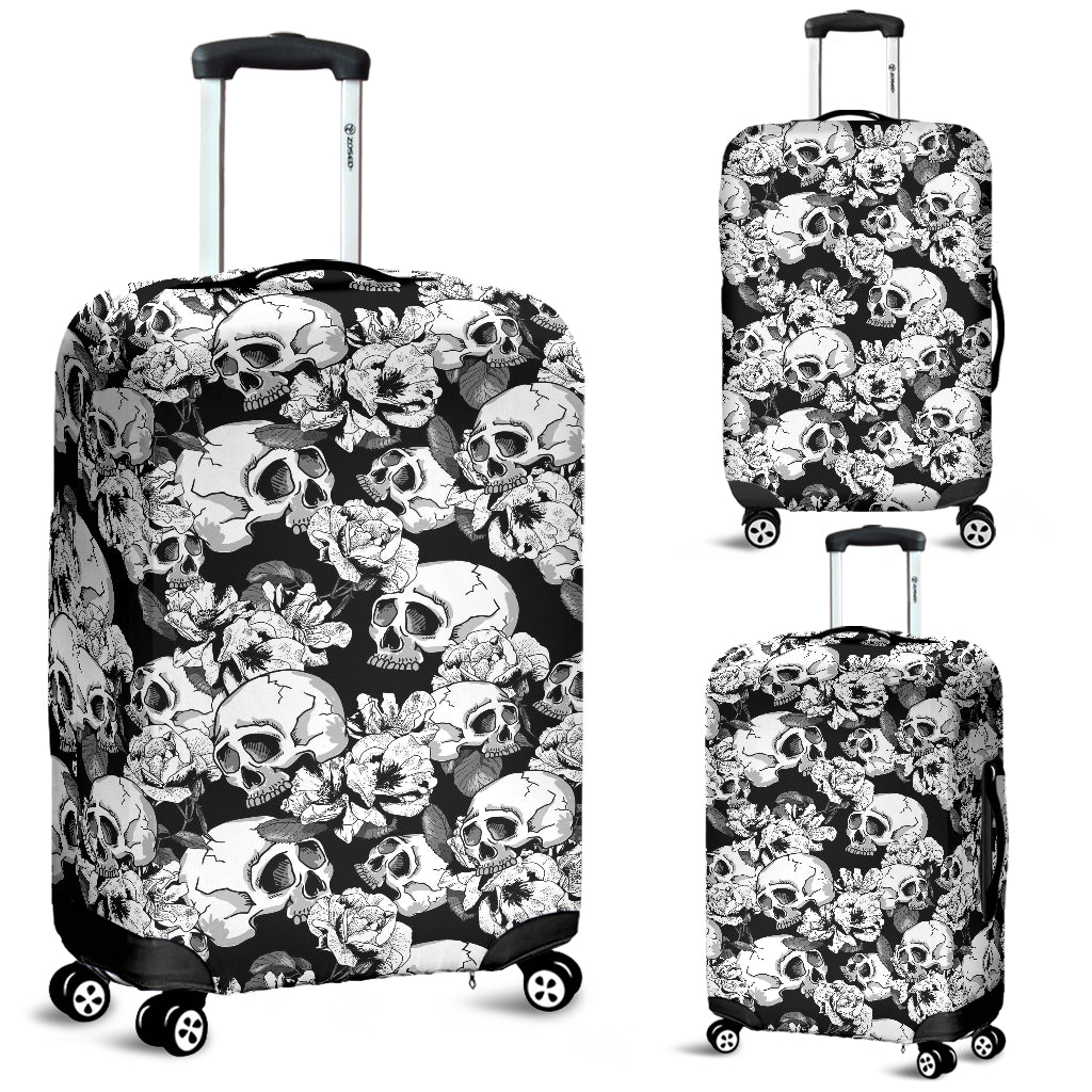Washable Spandex Skull Print Luggage Cover 002