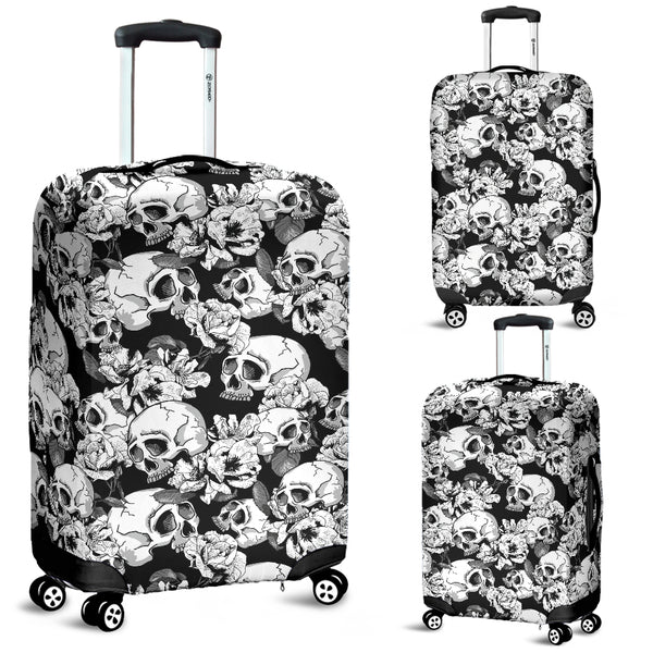 Washable Spandex Skull Print Luggage Cover 002 - designfullprint