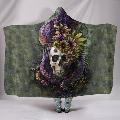 Ultra Soft Wool 3D Skull and Dragon Hooded Blanket 014
