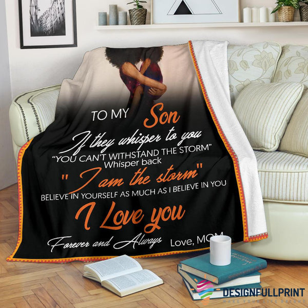 Mom to Son Black Girl Premium Blanket