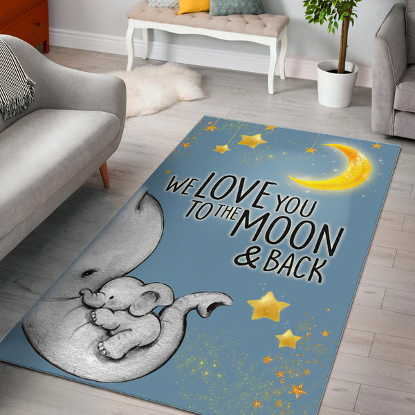 Elephant Love You To The Moon and Back Rug