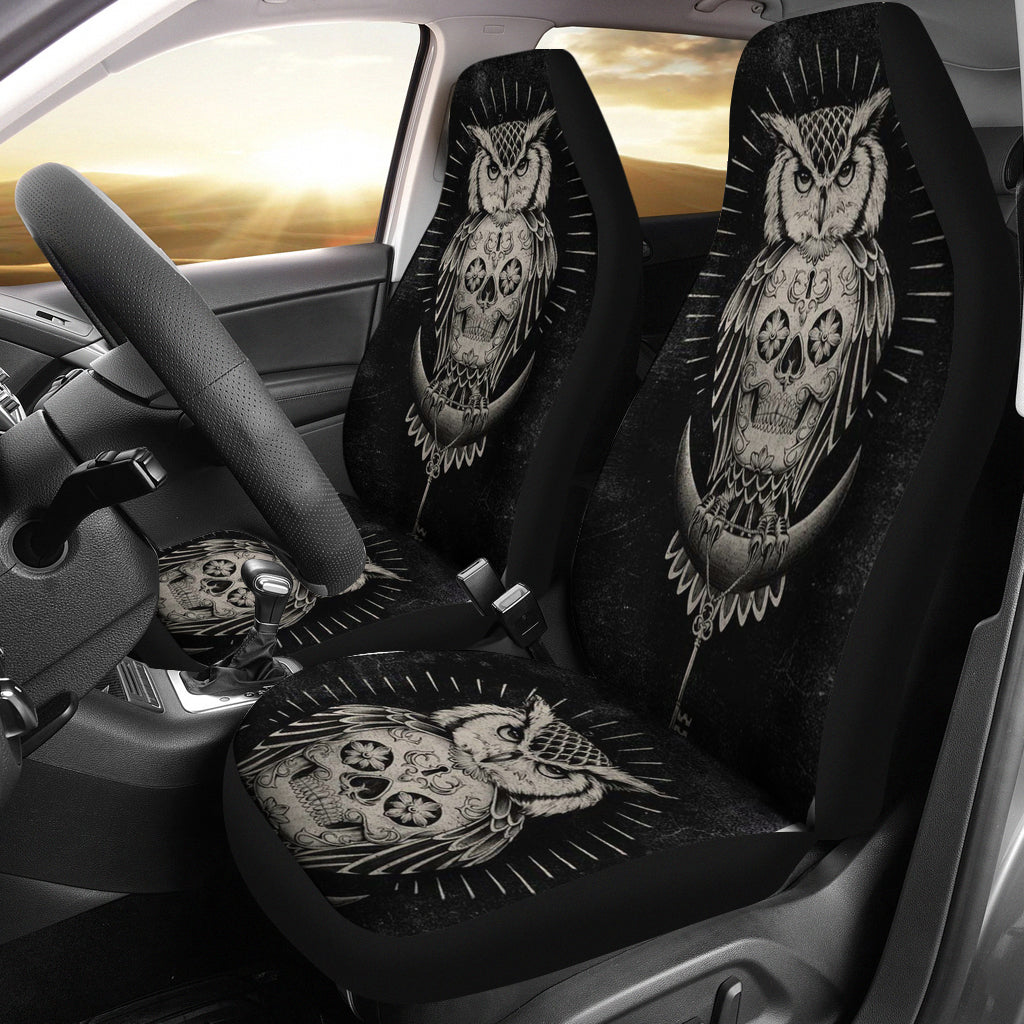 Universal Fit Polyester Fabric 3D Skull Car Seat Cover Set 009