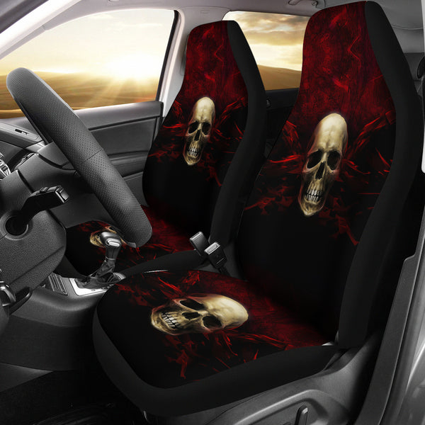 Red Angry Skull Car Seat Covers