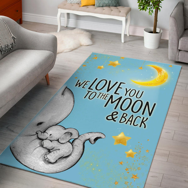 Elephant Love You To The Moon and Back Rug Light