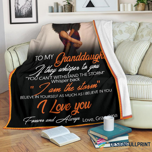 Grandma to Granddaughter Black Premium Blanket