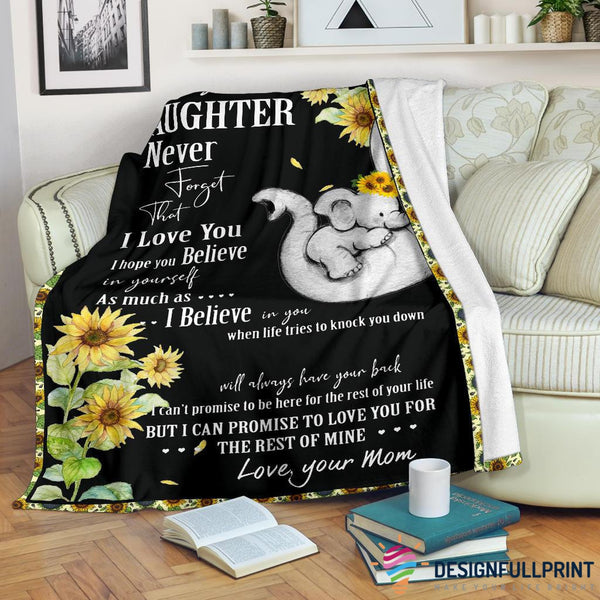 Mom to Daughter Elephant Sunflower Black Blanket