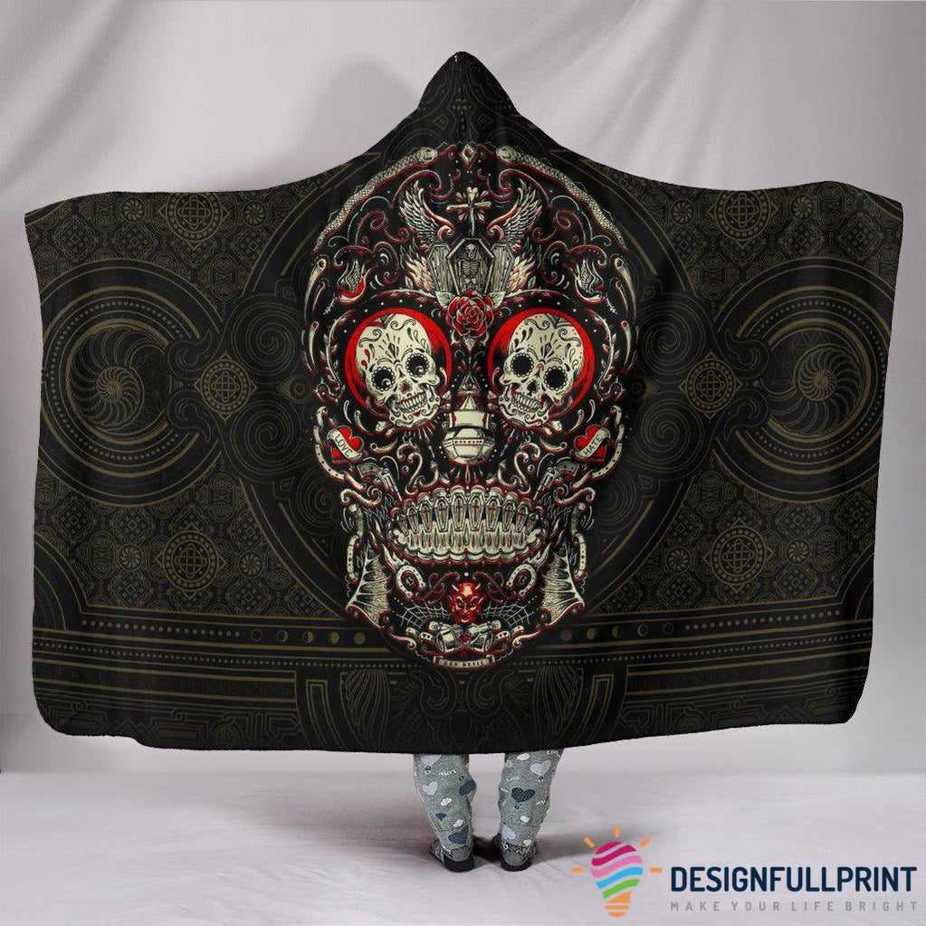 Ultra Soft Wool 3D Skull Hooded Blanket 009