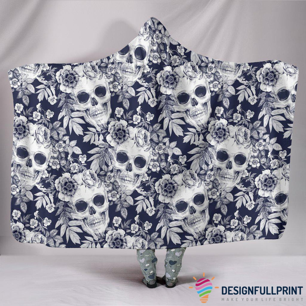 Ultra Soft Wool 3D Skull Hooded Blanket 001