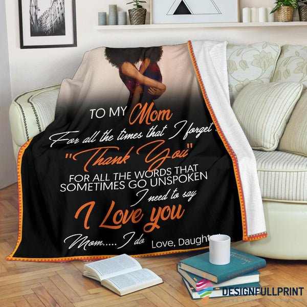 Daughter to Mom Black Premium Blanket