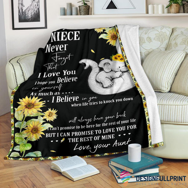 Aunt to Niece Elephant Sunflower Premium Blanket