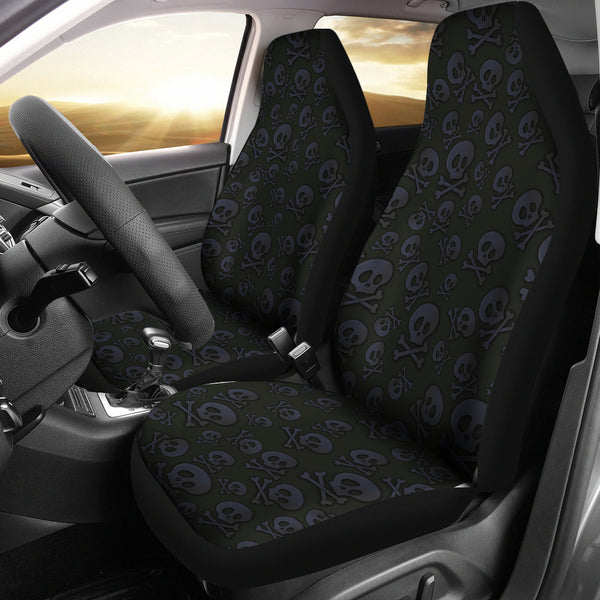 Cool Black Skull Car Seat Covers
