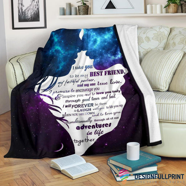 Lovers I take You to Be My Best Friends Premium Fleece Blanket
