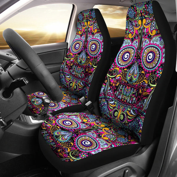 Universal Fit Polyester Fabric 3D Skull Car Seat Cover Set 010 - designfullprint