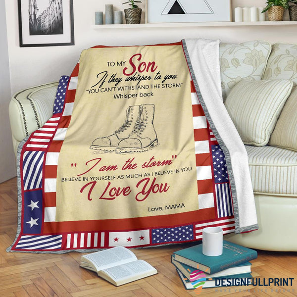 Mom to Son US Army Armed Force Veteran Premium Blanket