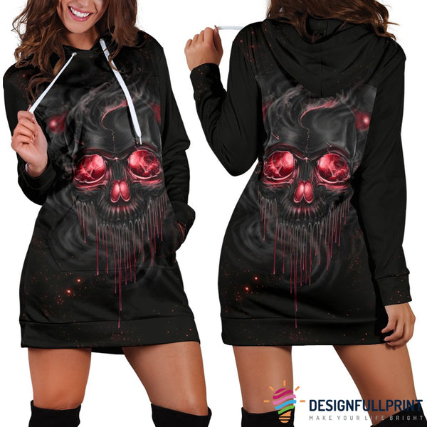Smelting Skull Hoodie Dress - designfullprint