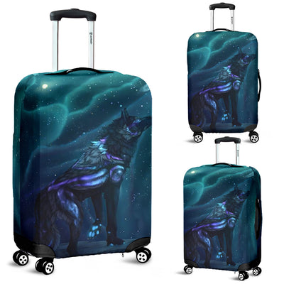 Washable Spandex Galaxy Wolf Print Luggage Cover 004