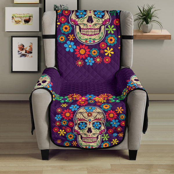 Skull Colorful Floral Sofa Protector Dark