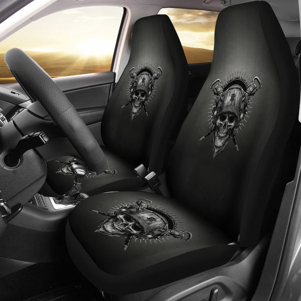 Universal-fit Polyester Fabric 3D Skull Car Seat Cover Set 011 - designfullprint