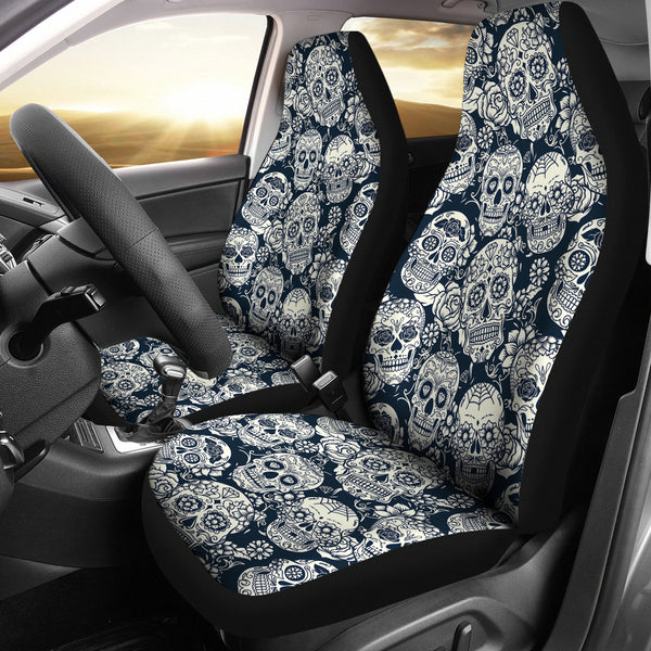 Blue Gray Floral Skulls Car Seat Covers