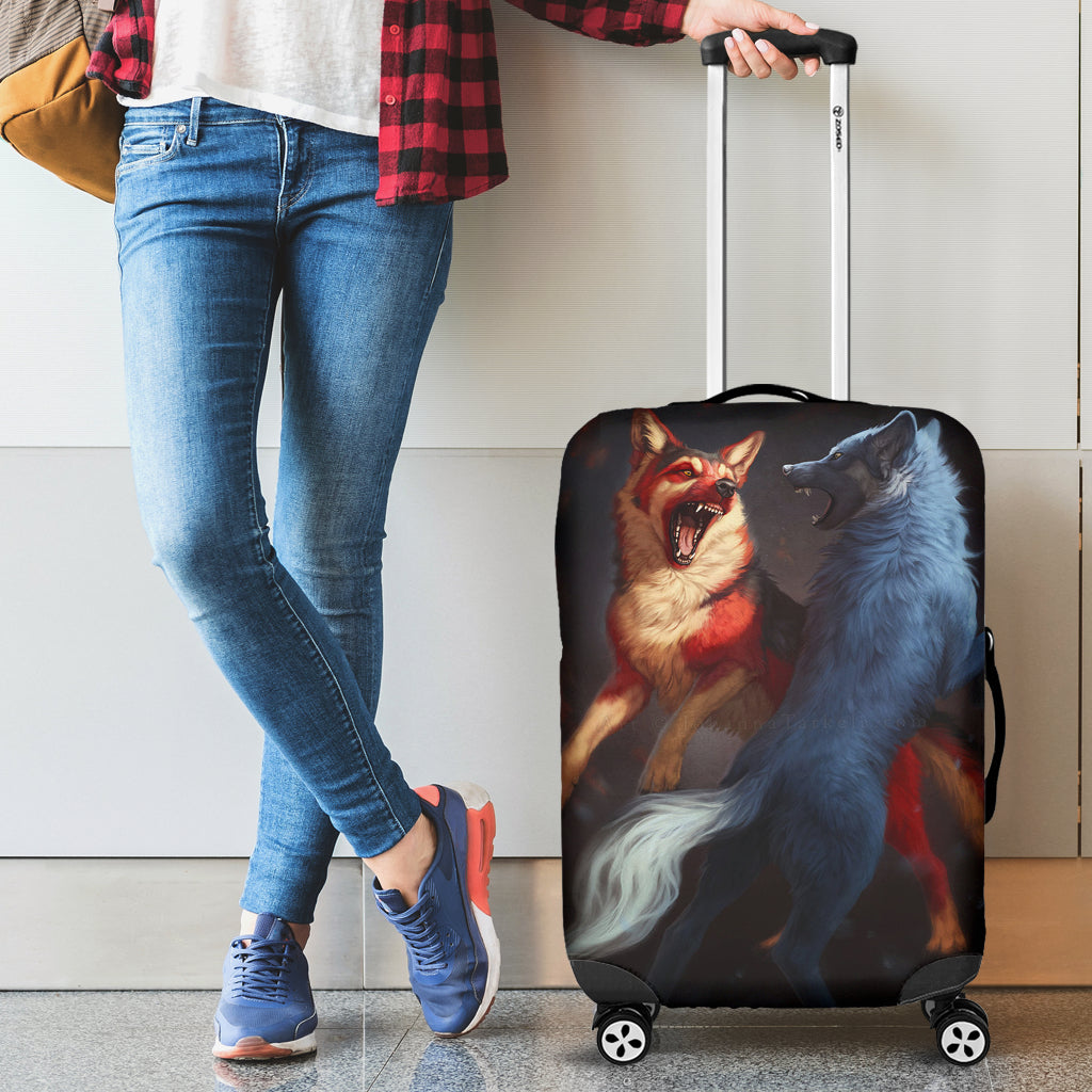 Washable Spandex Red&White Wolves Print Luggage Cover 001 - designfullprint