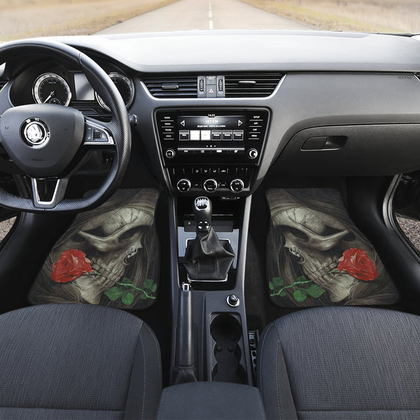 3D Skull design Universal-Fit Car Mat - Sugar Skull Skull and Rose (Set of 02) - designfullprint