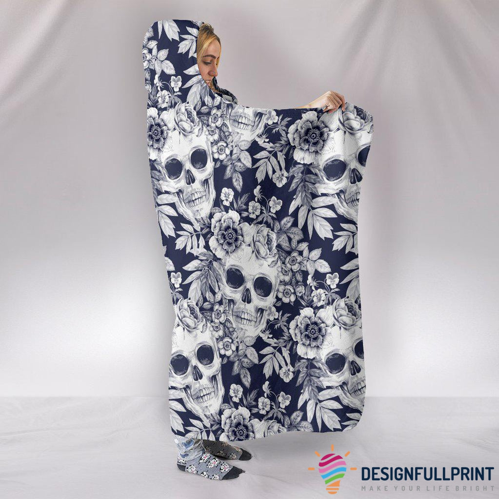 Ultra Soft Wool 3D Skull Hooded Blanket 001 - designfullprint