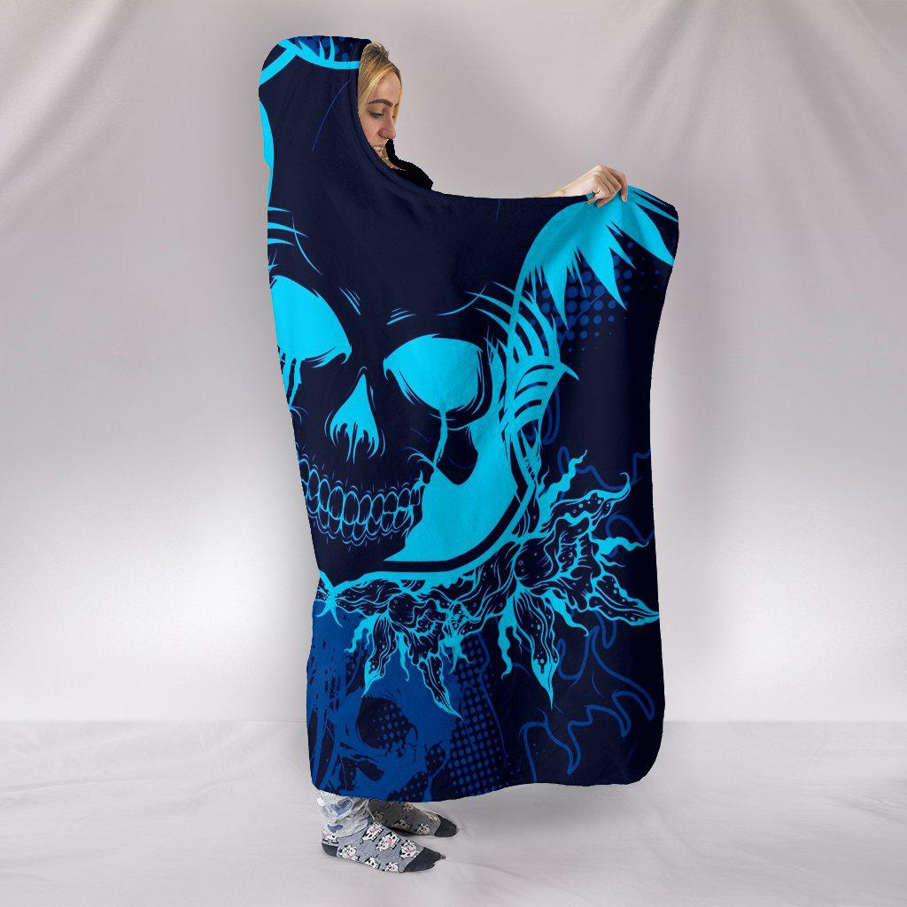 Ultra Soft Wool 3D Skull Hooded Blanket 003 - designfullprint
