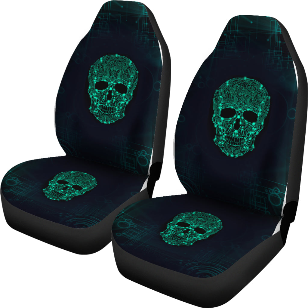 Universal Fit Polyester Fabric 3D Skull Car Seat Covers 005 - designfullprint