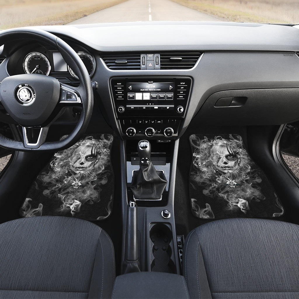 3D Skull design Universal-Fit Car Mat - DARK SKULL Black and White Skull Design (Set of 02) 001