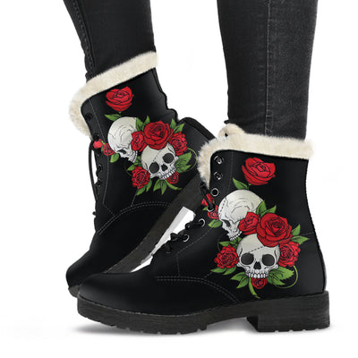 Skulls and roses Women's Fur Boots