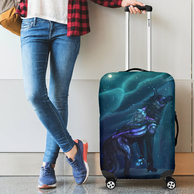 Washable Spandex Galaxy Wolf Print Luggage Cover 004 - designfullprint