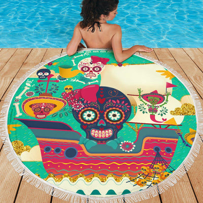 Lightweight Round Beach Blanket - Sugar Skull Skull Ship Mexican Skull 002