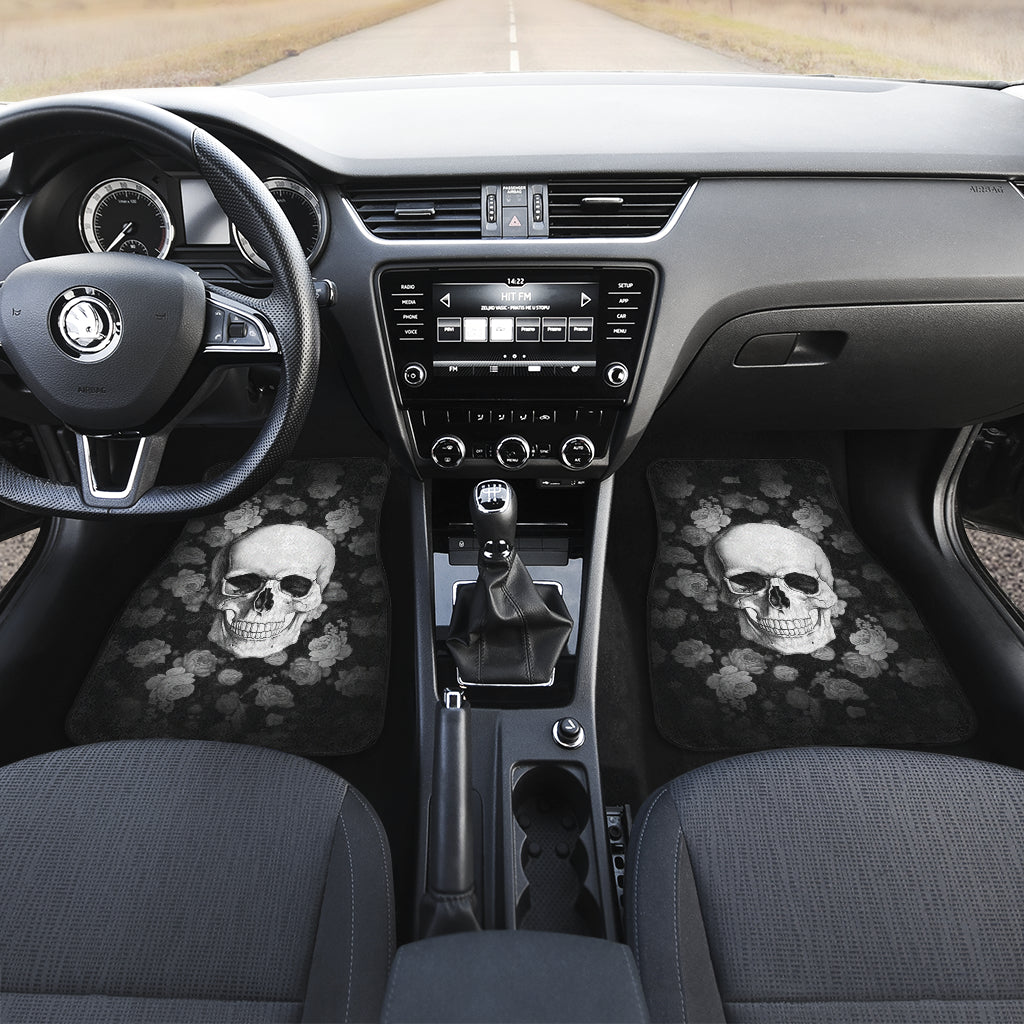 3D Skull design Universal-Fit Car Mat - DARK SKULL Black and White Skull Design (Set of 02) 002
