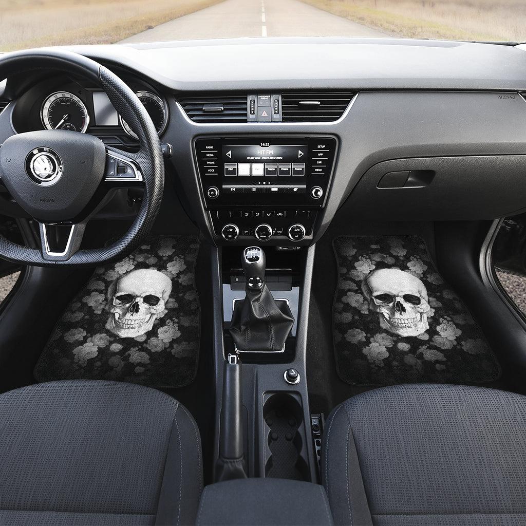 3D Skull design Universal-Fit Car Mat - DARK SKULL Black and White Skull Design (Set of 04) 002