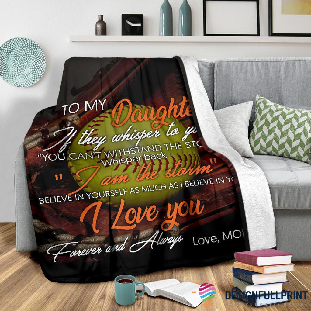 Softball Mom To Daughter Premium Blanket