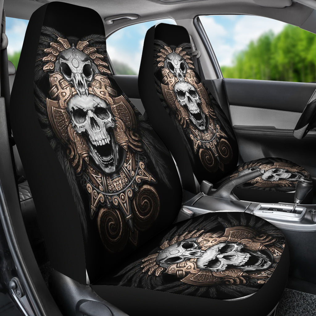Universal Fit Polyester Fabric 3D Skull Car Seat Cover Set 007 - designfullprint