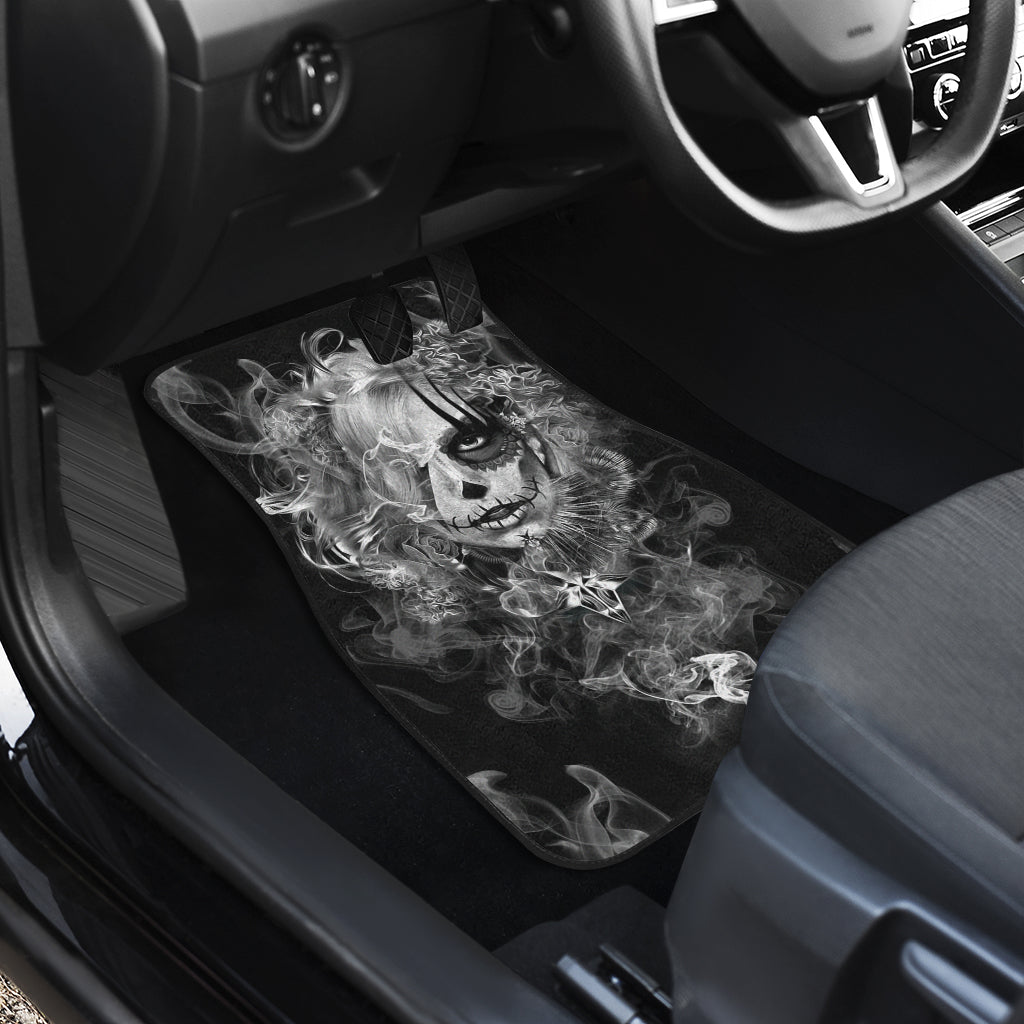3D Skull design Universal-Fit Car Mat - DARK SKULL Black and White Skull Design (Set of 02) 001 - designfullprint