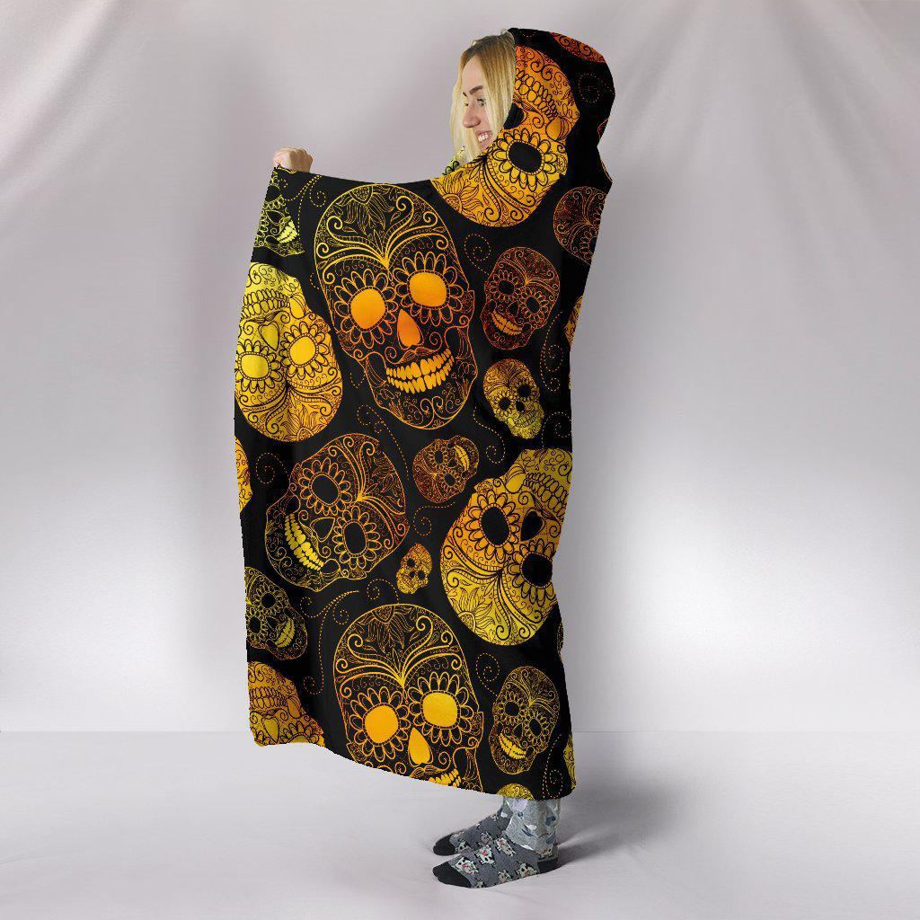 Ultra Soft Wool 3D Skull Hooded Blanket 002 - designfullprint