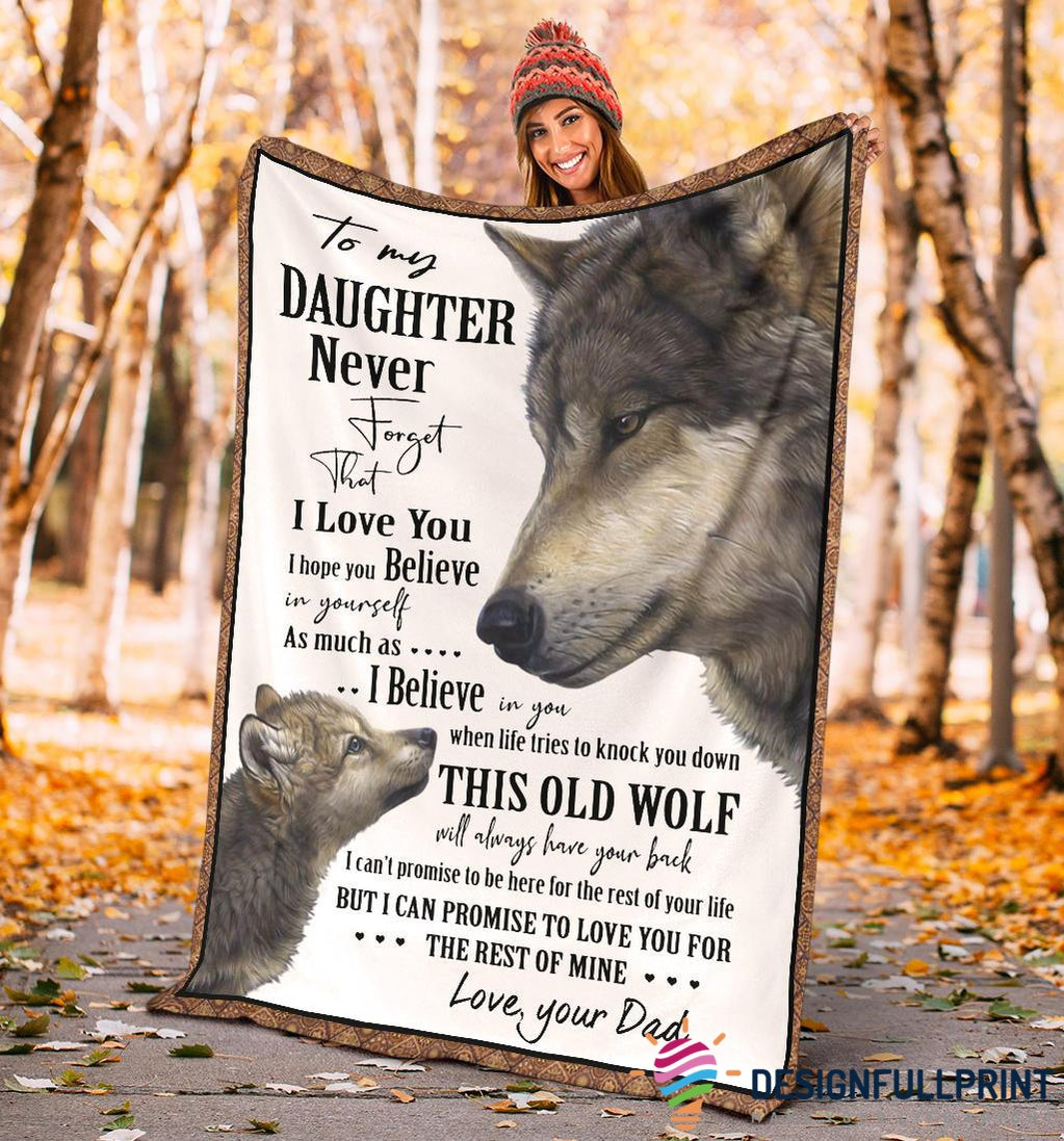 Wolf Dad to Daughter Premium Blanket