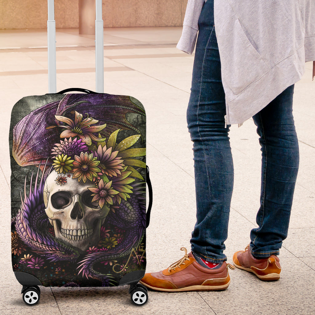 3D Skull and Dragon Luggage Cover 008 - designfullprint