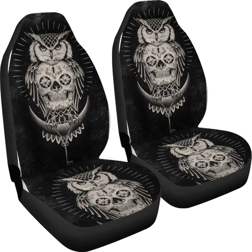 Universal Fit Polyester Fabric 3D Skull Car Seat Cover Set 009 - designfullprint