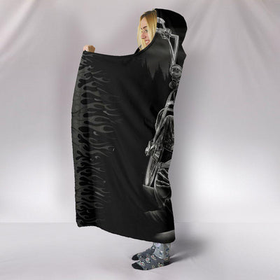 Ultra Soft Wool 3D Ride Or Die Skull Love Hooded Blanket 011 - designfullprint
