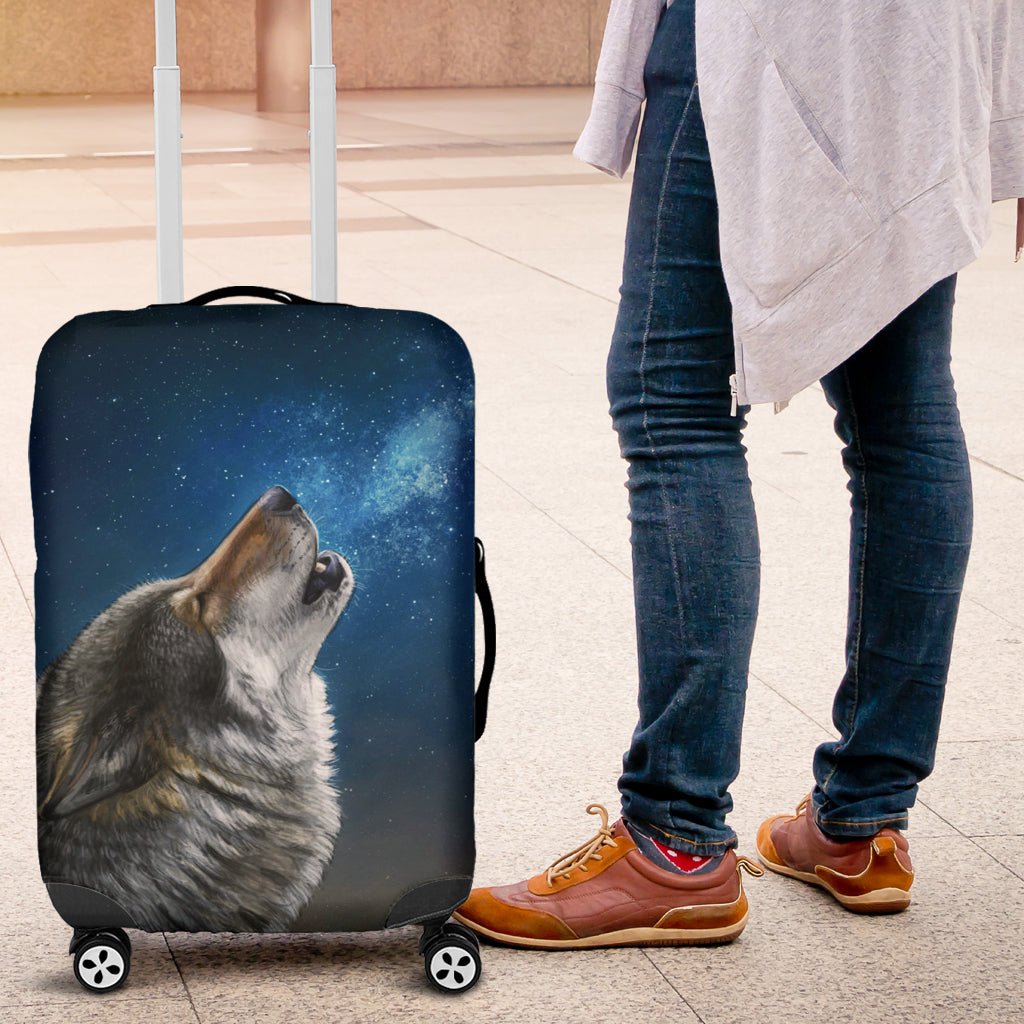 Washable Spandex Howling Wolf Print Luggage Cover 005 - designfullprint