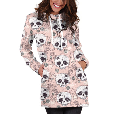 Floral Skull Hoodie Dress 002 - designfullprint