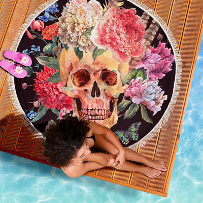 Ultra-soft & Lightweight Round Beach Blanket - Floral Headdress Skull 006 - designfullprint