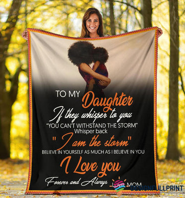 Mom To Daughter Black Girl Premium Fleece Blanket