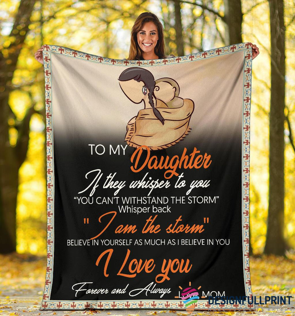 New Mom to Daughter Native American Fleece Blanket