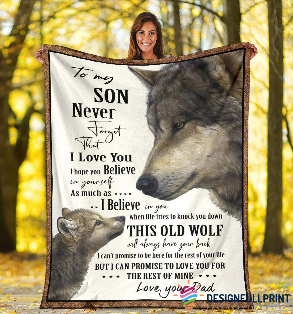 Wolf Dad to Son Native Premium Blanket