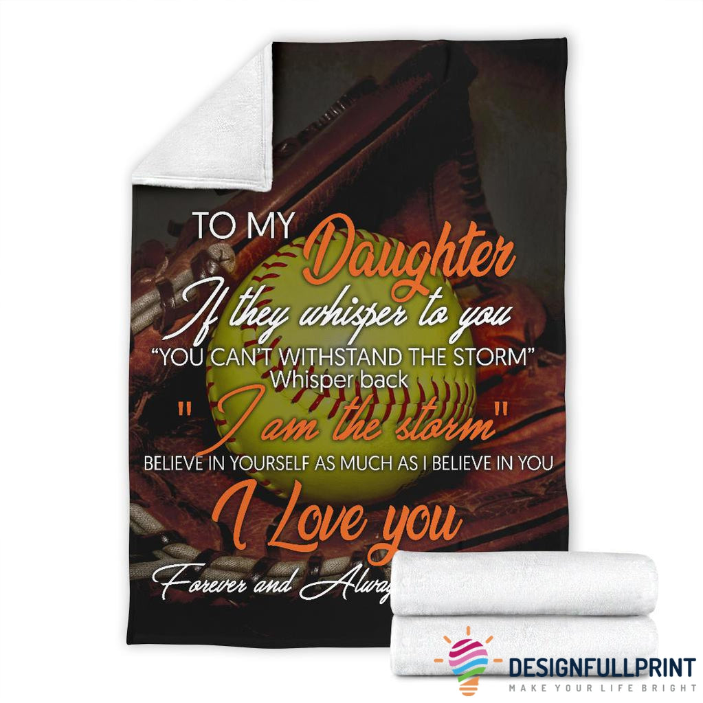 Dad to Daughter Softball Premium Fleece Blanket