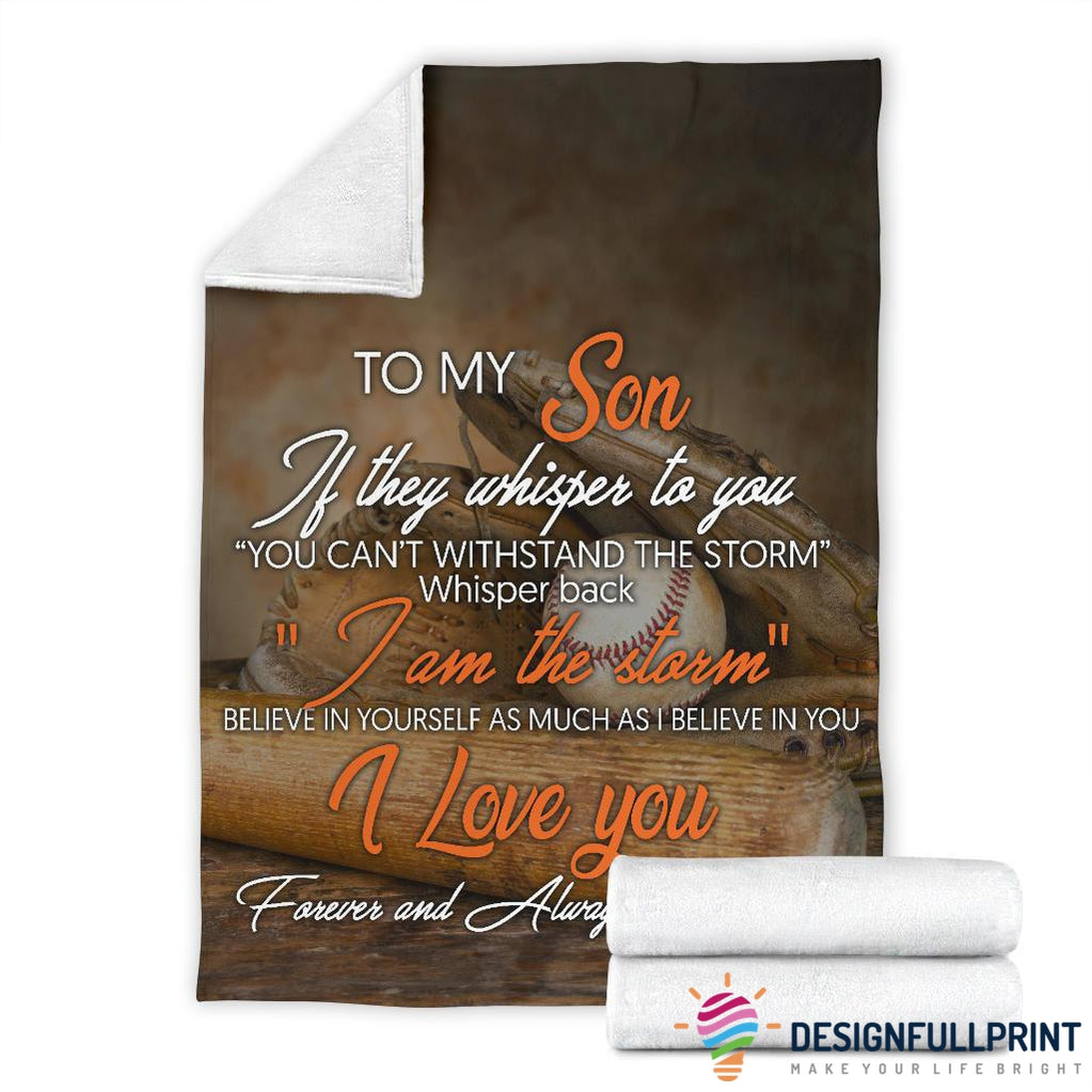 Baseball Mom to Son Premium Fleece Blanket